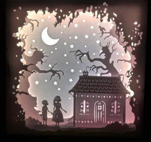 cadre lumineux carre Hansel et Gretel